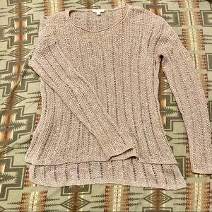 Eileen fisher open knit crochet fisherman sweater